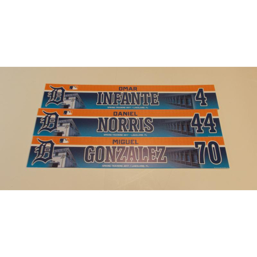 Three Game-Used Locker Name Plates: Daniel Norris, Omar Infante and Miguel Gonzalez