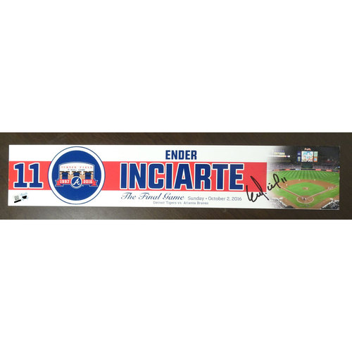 Photo of Ender Inciarte Game-Used and Autographed Locker Nameplate used for the Final Game at Turner Field