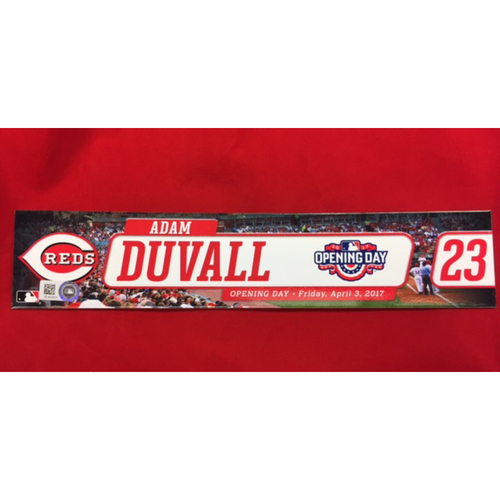 Photo of Opening Day Locker Tag -- Adam Duvall -- Second Career Opening Day -- April 3, 2017