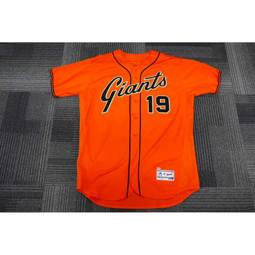 Photo of San Francisco Giants - 2017 Game-Used Orange Alt Jersey - worn by #19 Dave Righetti on 9/29/17 - (Size: 50)