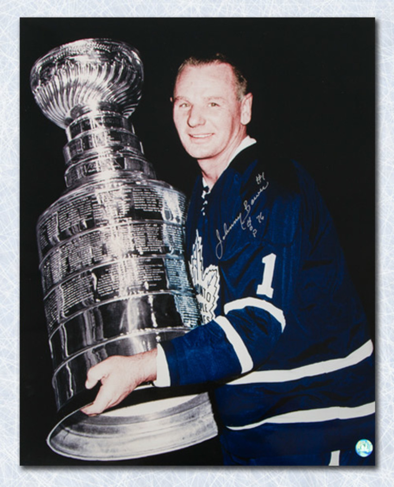 Johnny Bower Toronto Maple Leafs Autographed Stanley Cup 16x20 Photo