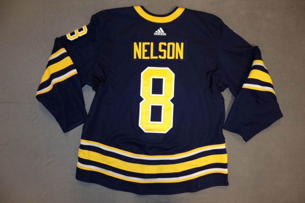 Casey Nelson 2017-18 Buffalo Sabres Game Worn Set 2 Home Jersey