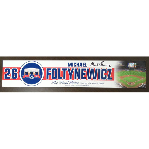Photo of Mike Foltynewicz Game-Used and Autographed Locker Nameplate used for the Final Game at Turner Field