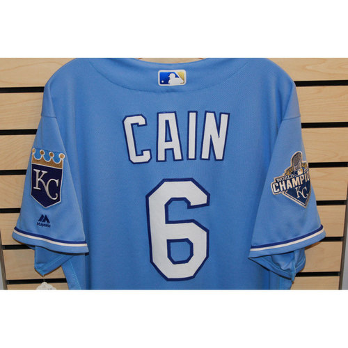 Photo of Game-Used Lorenzo Cain Jersey (Size 46) 9/18/16 CWS @ KC)