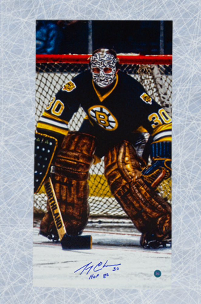 GERRY CHEEVERS Boston Bruins Autographed 14x28 Stiched Mask FW Art Canvas