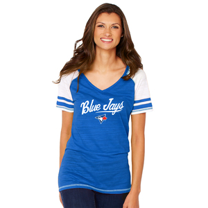 Toronto Blue Jays Women's Multi Count Raglan T-Shirt Royal by Soft As A Grape