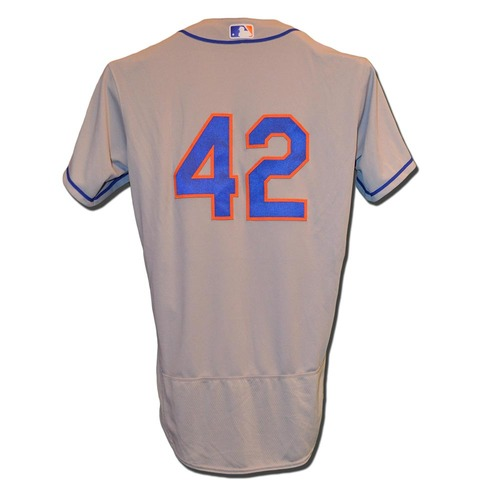"Photo of Robert Gsellman #42 - Game Used ""42"" Road Jersey - Mets vs. Marlins - 4/15/17"