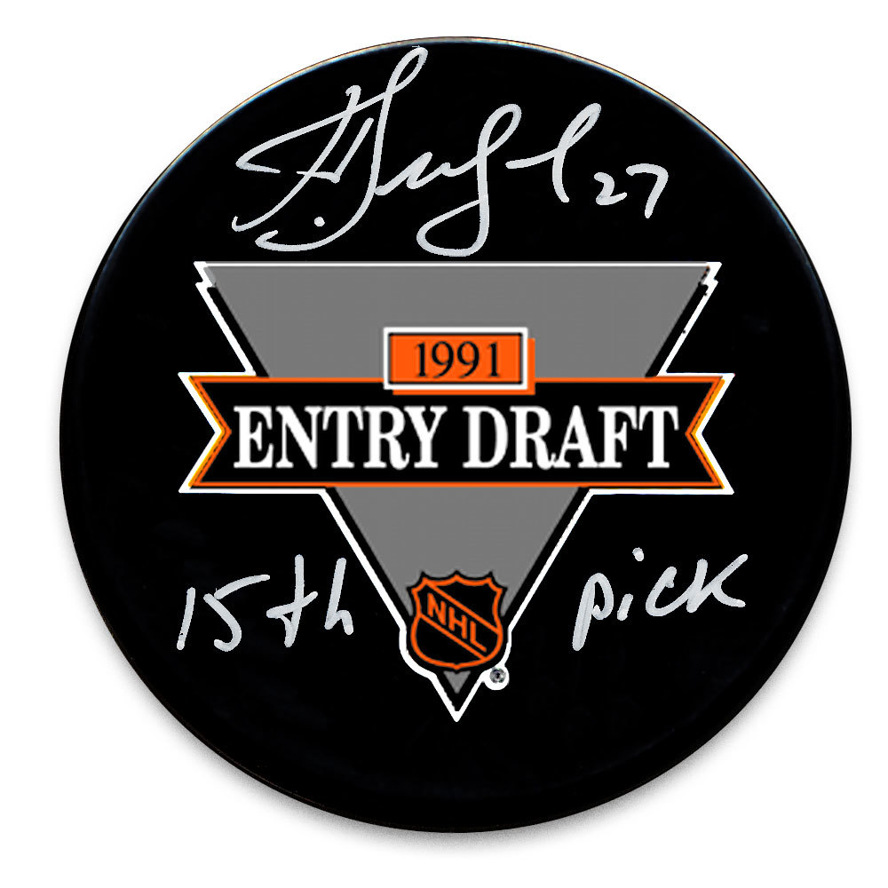 Alex Kovalev 15th Pick 1991 NHL Draft Day Autographed Puck New York Rangers