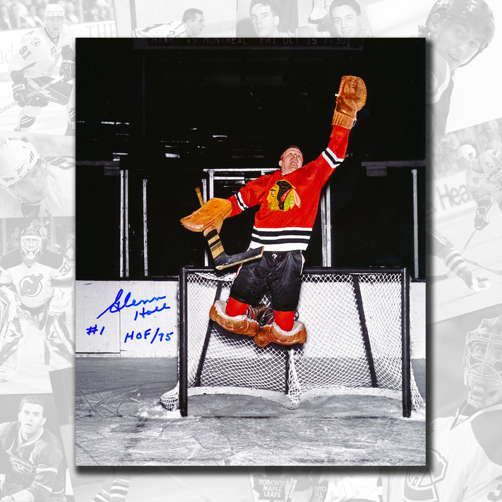 Glenn Hall Chicago Blackhawks Jumping Save Autographed 8x10