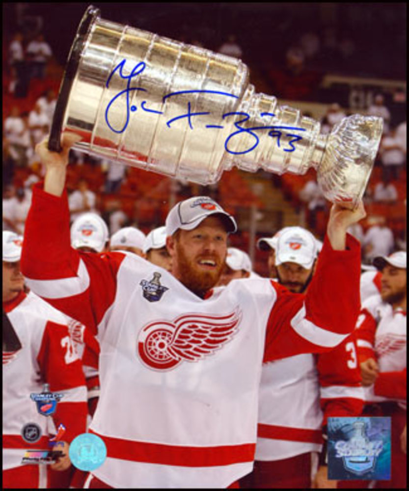 JOHAN FRANZEN Detroit Red Wings SIGNED 8x10 Stanley Cup Photo
