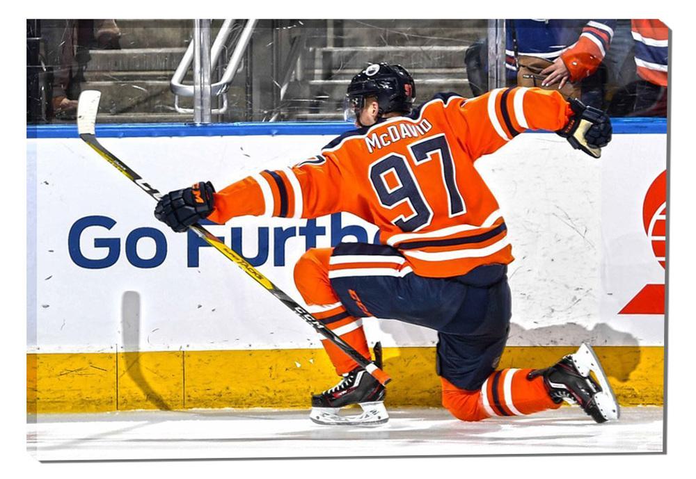Connor McDavid 20x29 Canvas Oilers Celebration-H