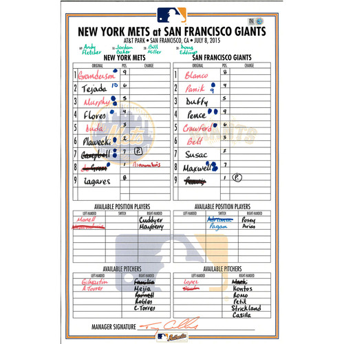 Photo of Game Used Lineup Card - deGrom 8 IP, 10 K's - Mets vs. Giants - 7/8/15