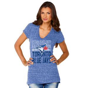 Toronto Blue Jays Women's Shadow V-Neck T-Shirt Royal by Soft As A Grape