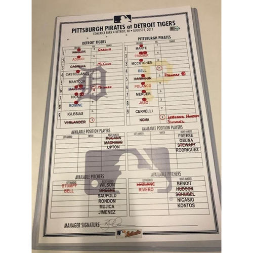 Game-Used Line-Up Card: Justin Verlander 1 Hit Game Through 8 Innings Pitched