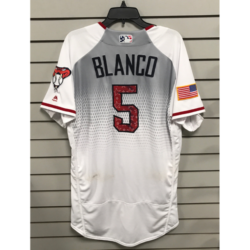 Photo of Gregor Blanco Game-Used Home 4th of July Jersey