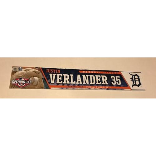 Game-Used Justin Verlander 2017 Opening Day Locker Name Plate