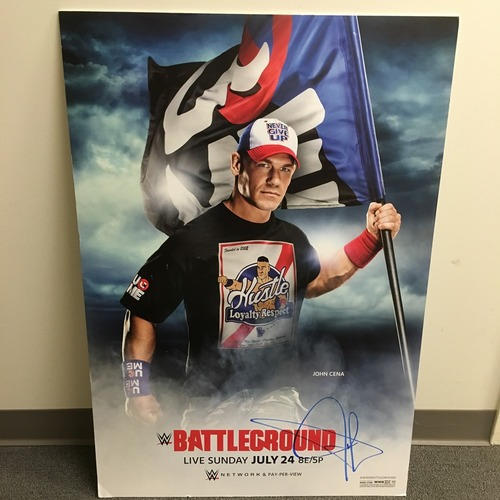 Photo of John Cena SIGNED Framed Foam Battleground 2016 Poster