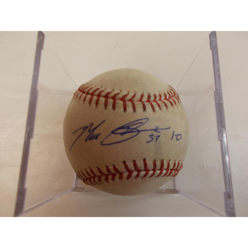 Photo of Autographed Game-Used Baseball: Max Scherzer 1-0