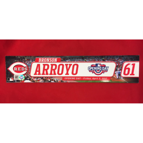 Photo of Opening Day Locker Tag -- Bronson Arroyo -- First Opening Day with Reds Since 2013 -- April 3, 2017