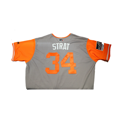 "Photo of Chris ""Strat"" Stratton San Francisco Giants Game-Used Players Weekend Jersey"