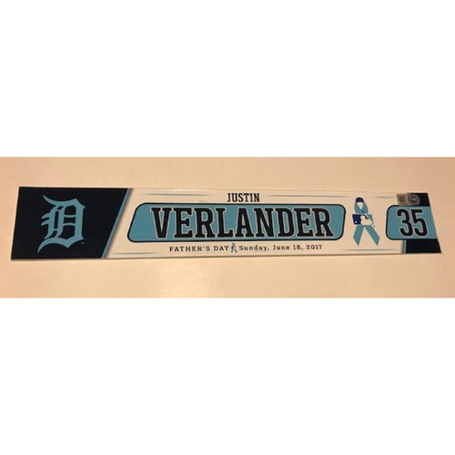 Game-Used Justin Verlander 2017 Father's Day Locker Name Plate