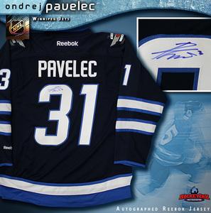 ONDREJ PAVELEC Signed Navy Reebok Winnipeg Jets Jersey