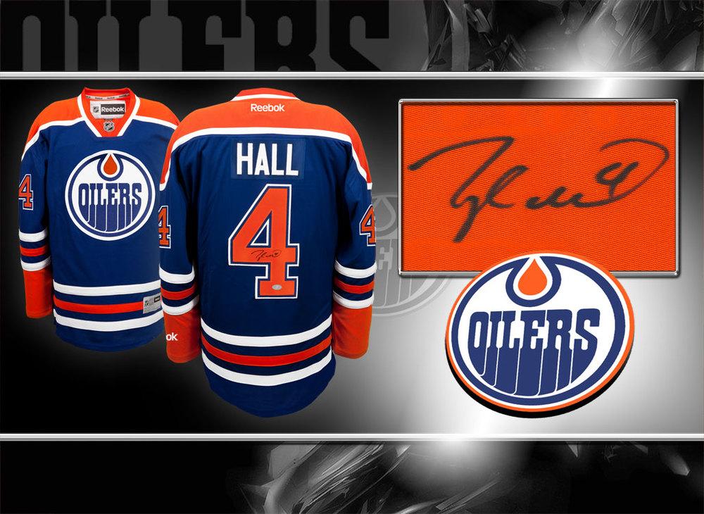 Taylor Hall Edmonton Oilers RBK Premier Autographed Jersey
