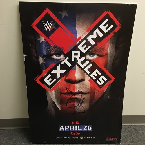 Photo of John Cena SIGNED Framed Foam Extreme Rules 2015 Poster