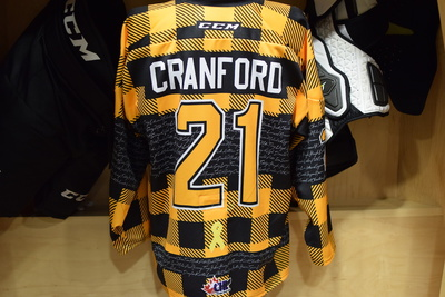 #21 Ryan Cranford Game Issued Kingston Frontenacs Hockey Fights Cancer Plaid Jersey