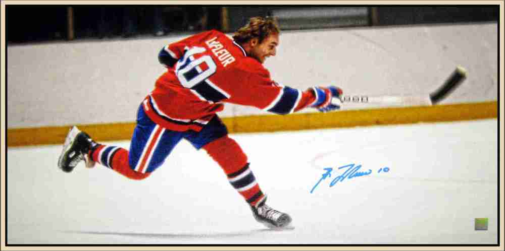 Guy Lafleur Signed Framed 14x28 Canvas Slapshot