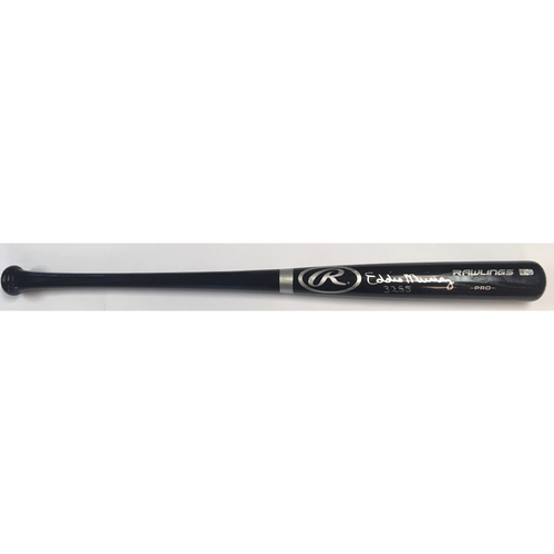 "Photo of Eddie Murray ""3255"" Autographed Black Rawlings Bat"