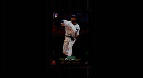 Photo of 2011 Bowman Chrome #215 Eduardo Nunez Rookie Card -- Red Sox post-season
