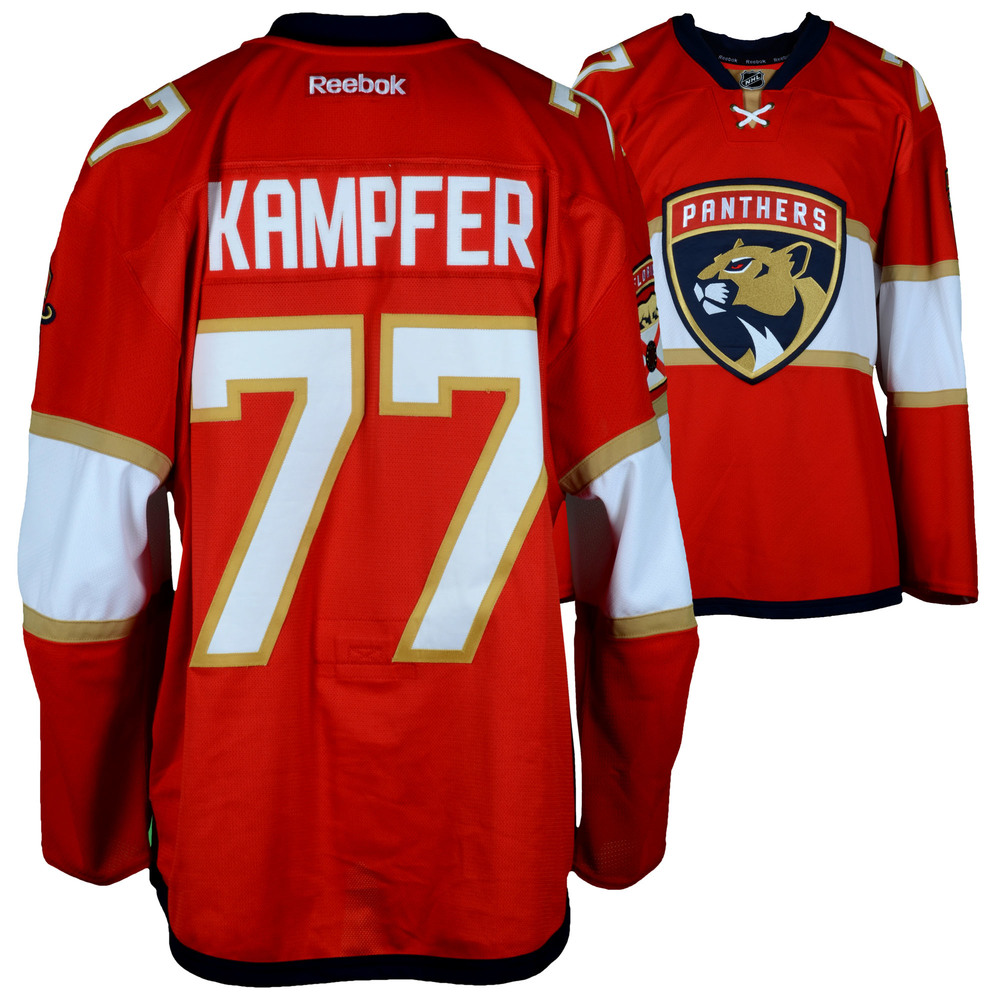 Steven Kampfer Florida Panthers Game-Used #77 Red Set 1 Jersey from the 2016-17 NHL Season - Size 56