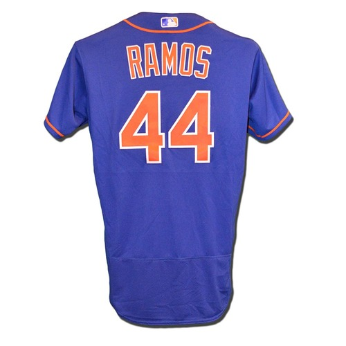 Photo of A.J. Ramos #44 - Game Used Blue Alternate Home Jersey - Mets vs. Braves - 9/26/17