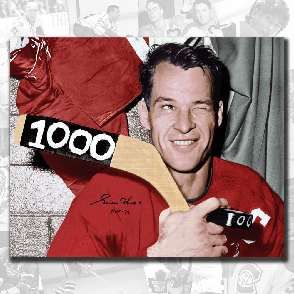 Gordie Howe Detroit Red Wings 1000th Point Autographed 16x20