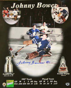Johnny Bower - Signed 8x10 Photo - Toronto Maple Leaf Player Collage