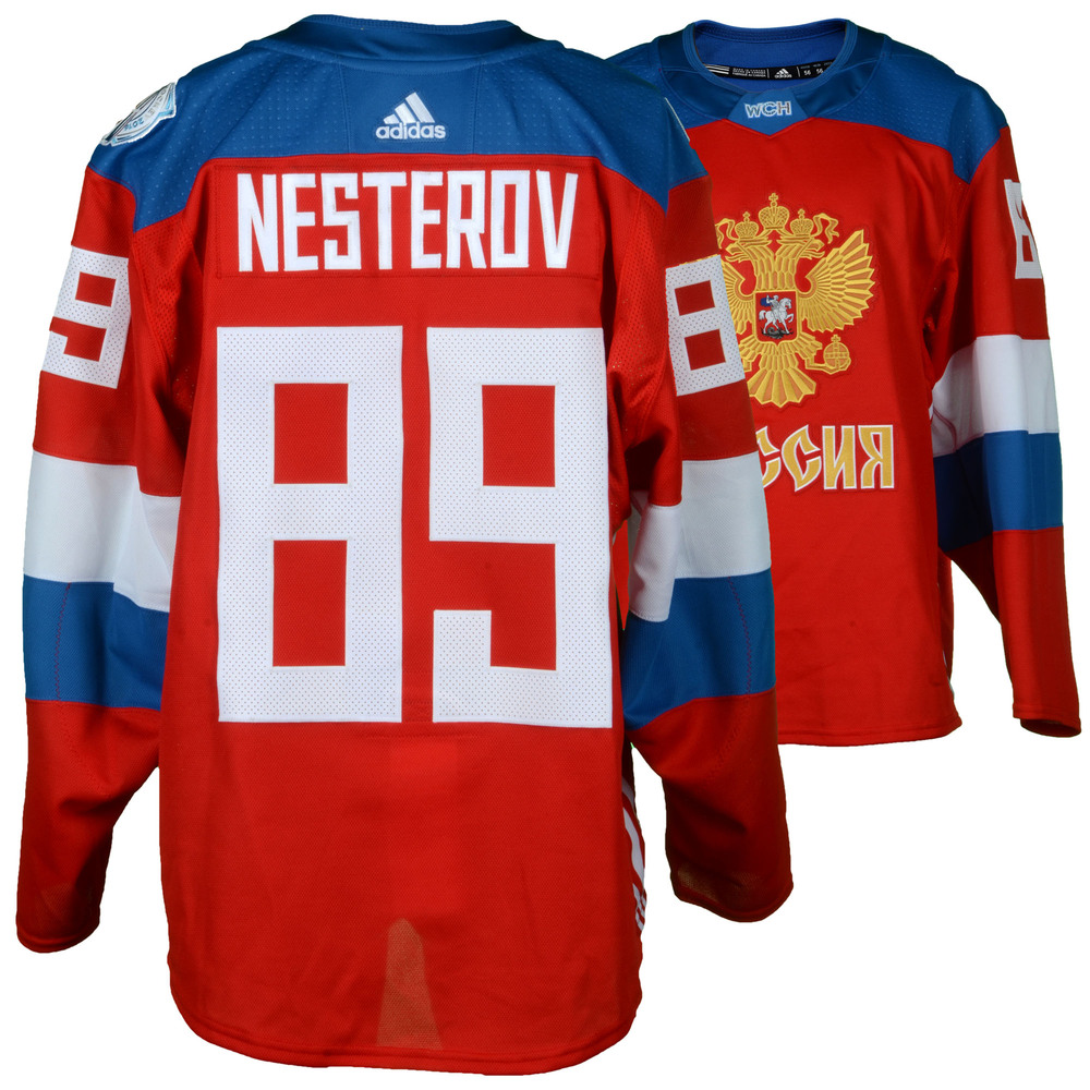 Nikita Nesterov Montreal Canadiens Player-Issued 2016 World Cup of Hockey Team Russia Jersey