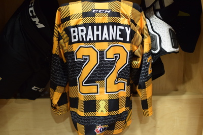 #22 Jakob Brahaney Game Issued Kingston Frontenacs Hockey Fights Cancer Plaid Jersey