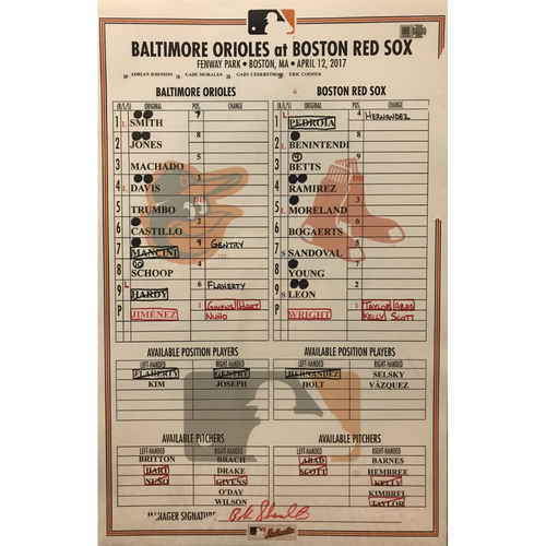 Photo of April 12, 2017, Game-Used Lineup Card: First 2 Homeruns of the Season for Trey Mancini