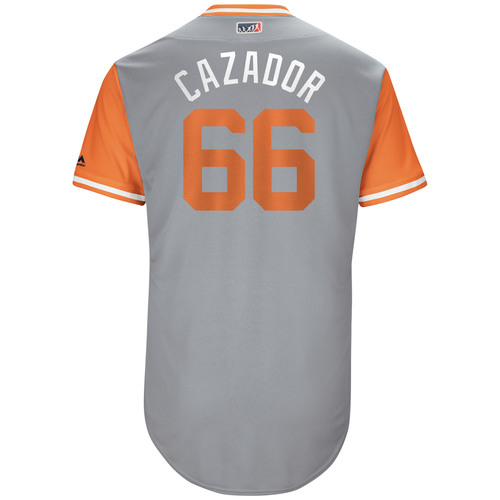 "Photo of Gorkys ""Cazador"" Hernandez San Francisco Giants Game-Used Players Weekend Jersey"