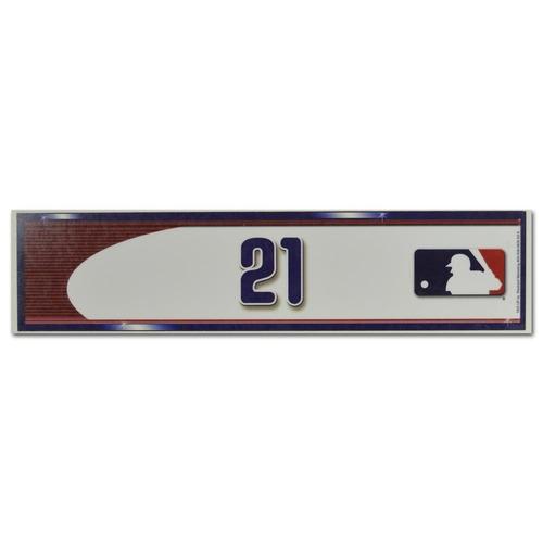 Photo of Lucas Duda #21 - Visiting Locker Nameplate - Mets Clinch NL Wildcard Berth - Mets vs. Phillies - 10/1/16