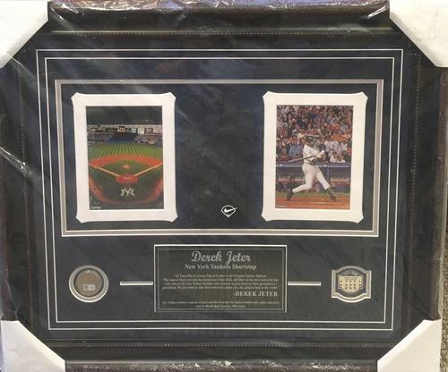 Photo of Derek Jeter GAME USED BATTING GLOVE & GAME USED DIRT Yankees Stadium Display - 2008 Final Season 20x24 Framed