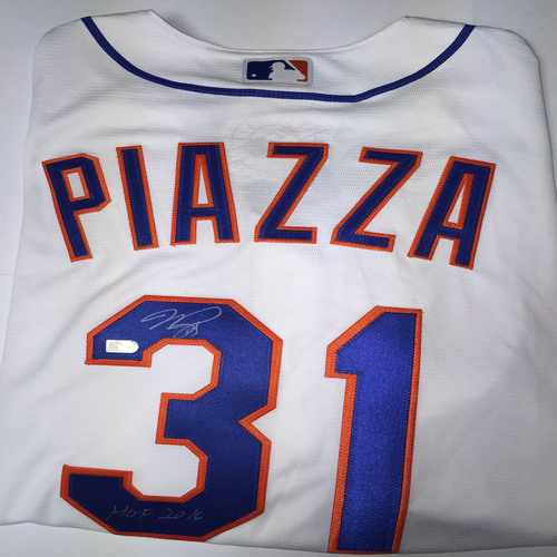"Photo of Mike Piazza Autographed ""HOF 2016"" Replica Mets Jersey"