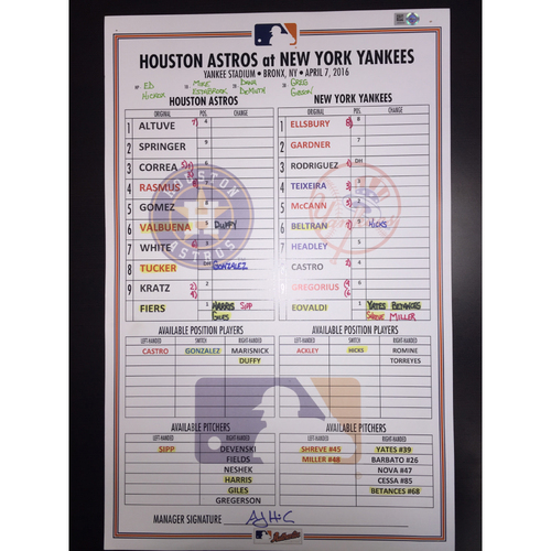 Photo of Astros at Yankees, April 7, 2016, Game-Used Lineup Card