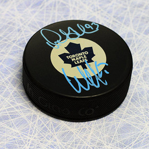 Wendel Clark & Doug Gilmour Toronto Maple Leafs Dual Signed Hockey Puck