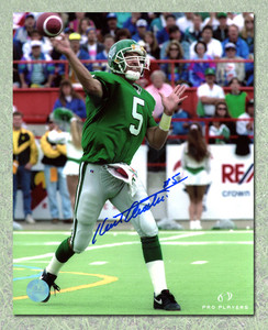 Kent Austin Saskatchewan Roughriders Autographed Quarterback Pass 8x10 Photo