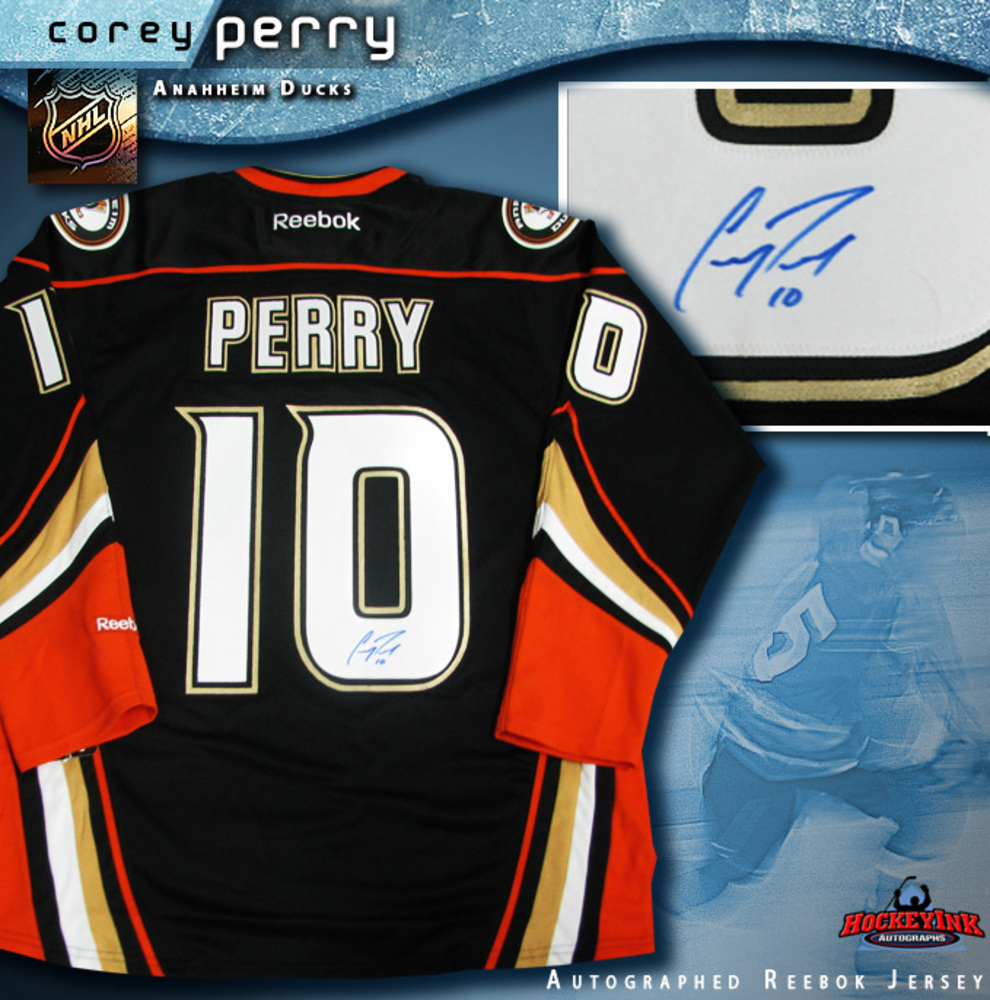 COREY PERRY Signed Anaheim Ducks Reebok Black Third Jersey