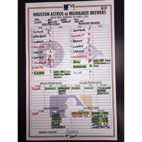 Photo of Astros at Brewers, April 9, 2016, Game-Used Lineup Card