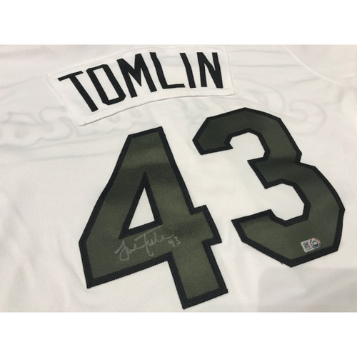 Photo of Josh Tomlin Autographed Memorial Day Jersey