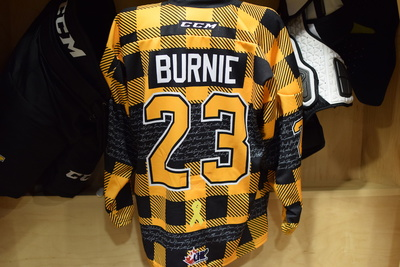 #23 Tyler Burnie Game Issued Kingston Frontenacs Hockey Fights Cancer Plaid Jersey